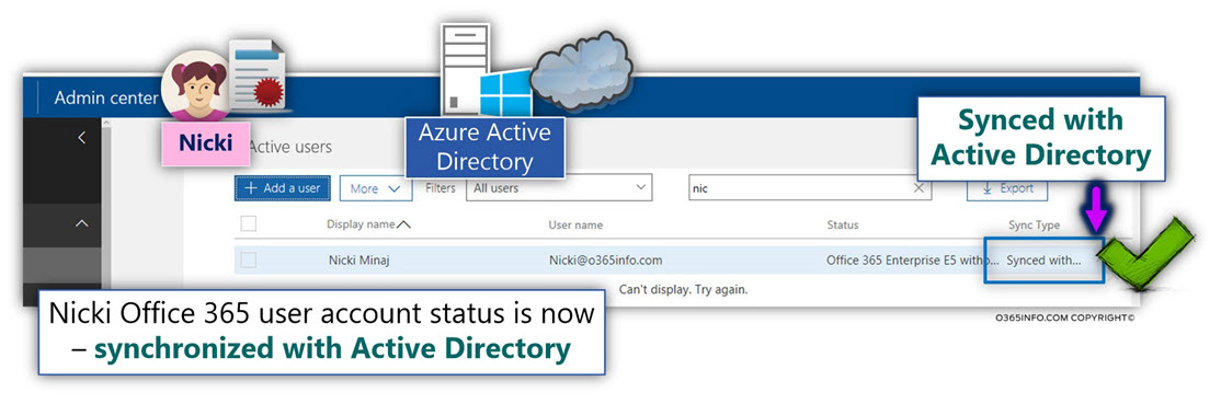 Nicki Office 365 user account status is synced with Active Directory -03