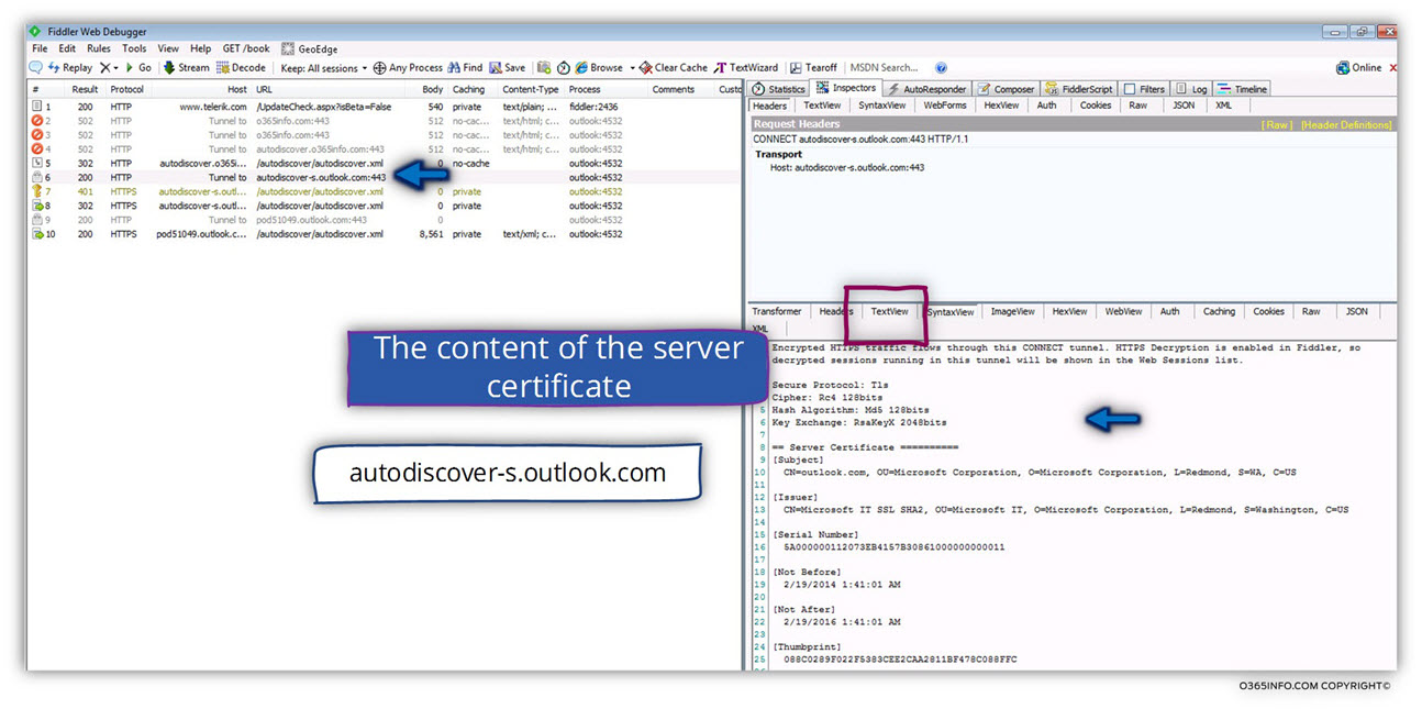 Fiddler analyzing Autodiscover session 02