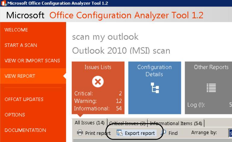 OffCAT – Export report 001