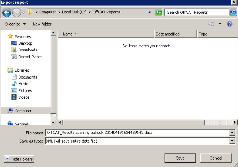 OffCAT – Export report 002